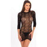 EXOTIC GEOMETRY MINI VESTIDO NEGRO